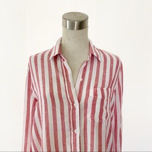 Rails Tops - Rails Charli Carmine Stripe Button Down Blouse XS